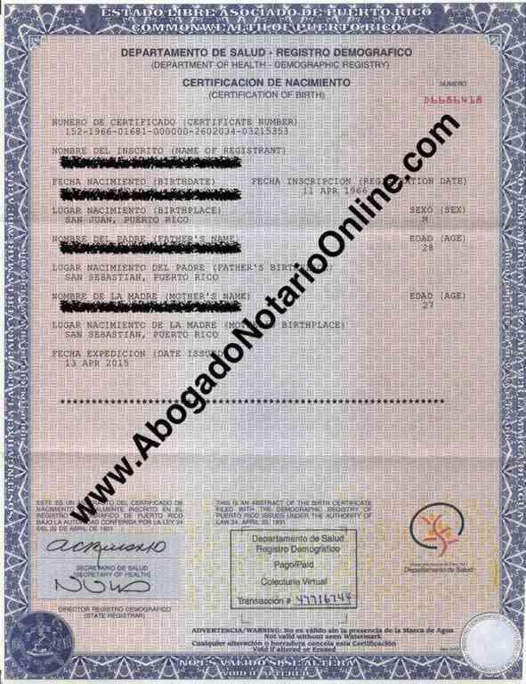 nacimiento certificado rico puerto birth certificate acta certificates notary notario