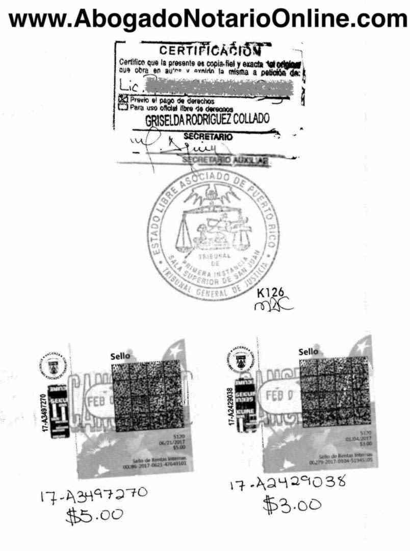 Copia Certificada (Puerto Rico)   Abogado Notario Online