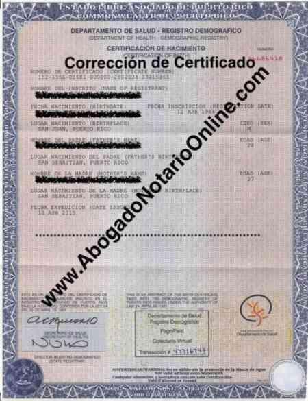 Corrección de Acta o Certificado del Registro Demográfico de Puerto Rico